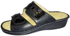 Sanastico Sandalen mit Wechselfussbett, Leder und Kroko schwarz