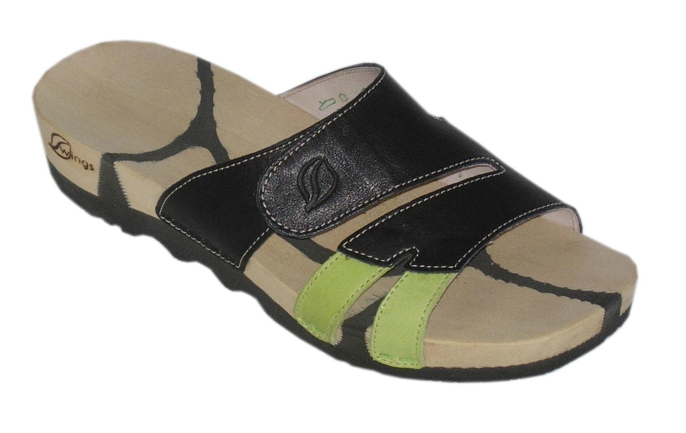 Swings Modell: Kiebitz mit Velcro, helle Sohle, Bio-Leder: schwarz, hellgrün