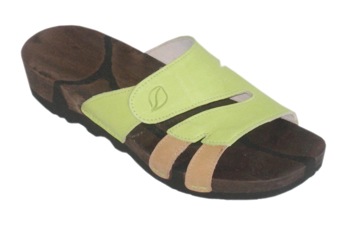 Swings Modell: Kiebitz mit Velcro, braune Sohle, Bio-Leder: hellgrün-hellbraun