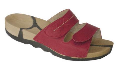 Swings Modell: Barbara mit Velcro, helle Sohle, Bio-Leder: rot