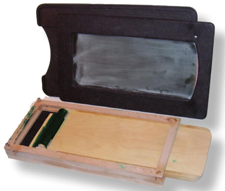 Trittspurgerät zweiteilig dynamischer Abdruck, betriebsbereit eingefärbt, mit Markierungsstift