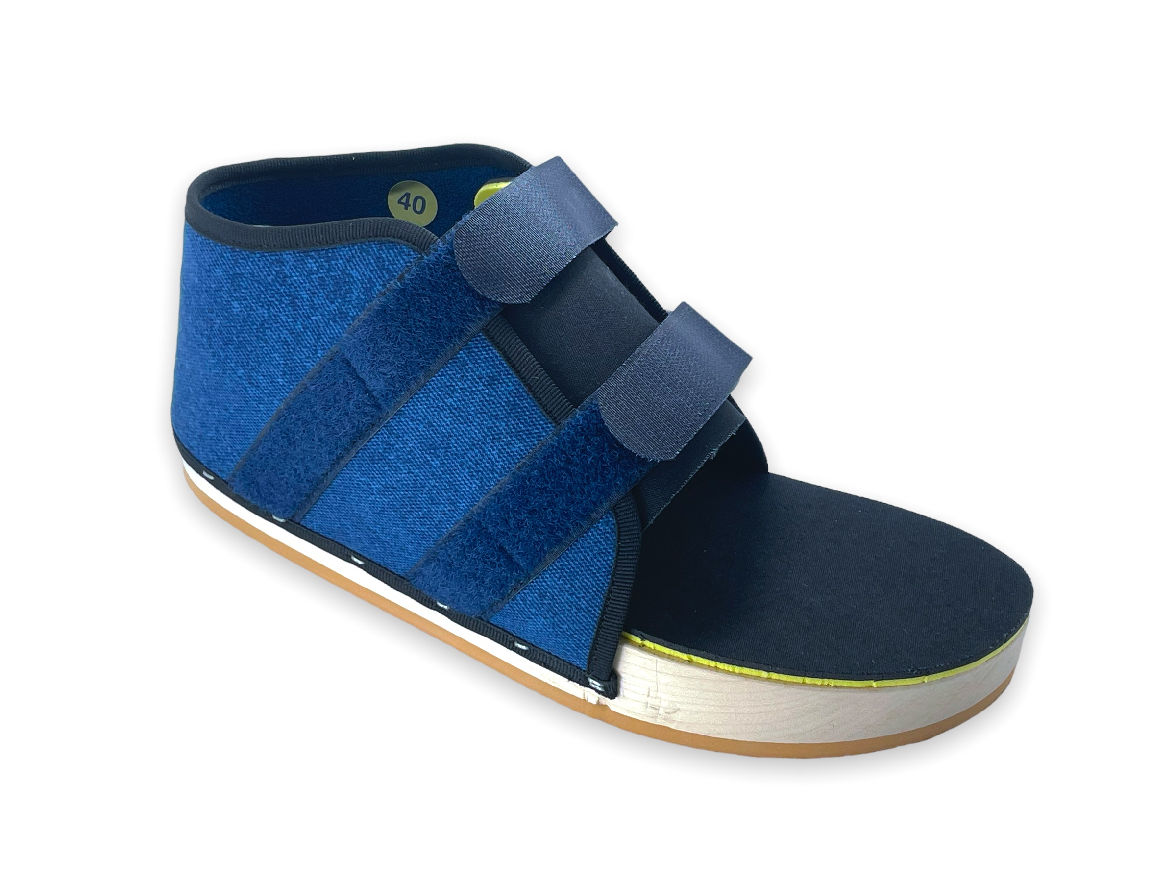 Hallux-Schuh mit Velcroverschluss, Fussform, Jeansstoff blau MiGeL23.01.10.00.1