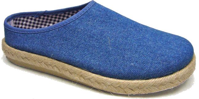 Leinen Clogs, Farbe Jeans, Gummisohle mit Jute