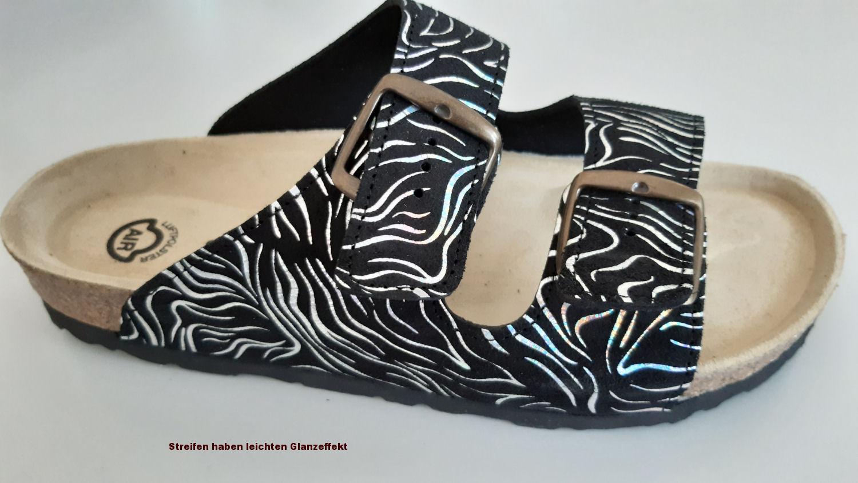 AKTION Fussbett-Sandalen, Zebra Black  L049.100